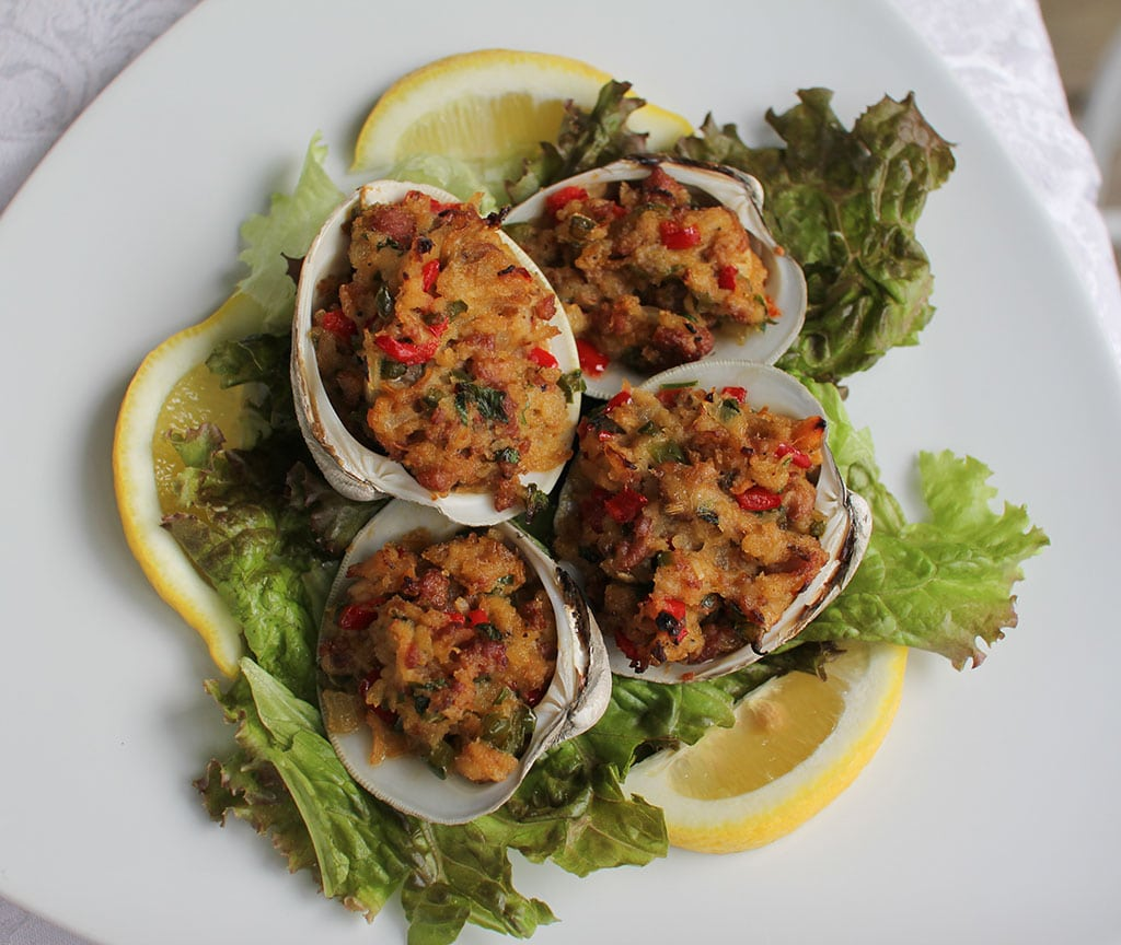 Traditional Cape Cod Linguisa Stuffed Quahogs