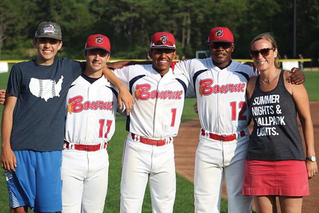 Colin and Nicole Norkevicius with Bourne Braves players
