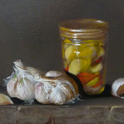 Painting of Garlic in Olive Oil